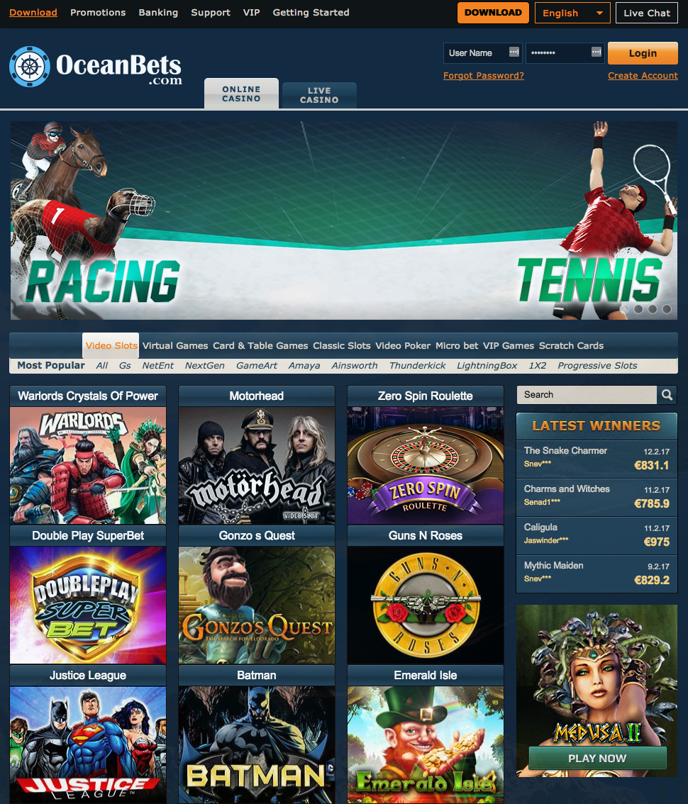 Casinospel volatilitet OceanBets casino exklusiv