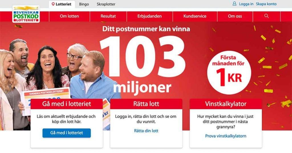 Postkodlotteriet vinstkarta sätt in 99924